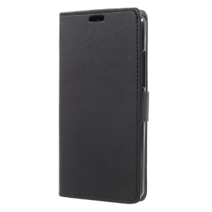PU Leather Wallet Stand Mobile Cover for Vodafone Smart V8 - Black
