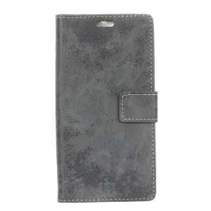 Retro Style Wallet Stand Leather Phone Cover for Vodafone Smart E8 - Grey