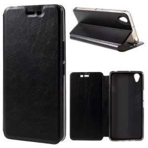 Crazy Horse Leather Stand Case for OnePlus X - Black