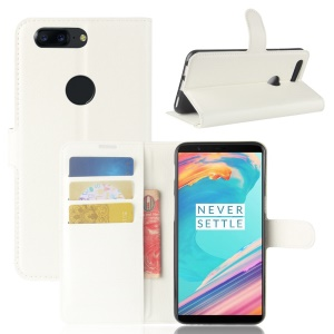 Litchi Texture Wallet Stand Leather Cover for OnePlus 5T - White