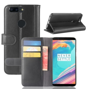 Genuine Split Leather Wallet Moble Phone Case with Stand for OnePlus 5T - Black