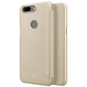 NILLKIN Sparkle Series Auto-wake/sleep Leather Smart Cover Case for OnePlus 5T - Gold