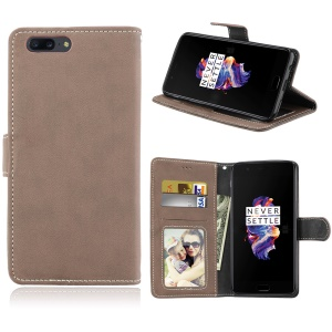 Matte Finish Wallet Leather Stand Phone Case for OnePlus 5 - Khaki
