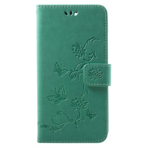 Imprint Butterfly Flower PU Leather Stand Wallet Phone Cover for OnePlus 5T - Green