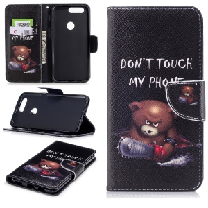 Patterned PU Leather Wallet Stand Cell Phone Case for OnePlus 5T - Angry Bear and Warning Words