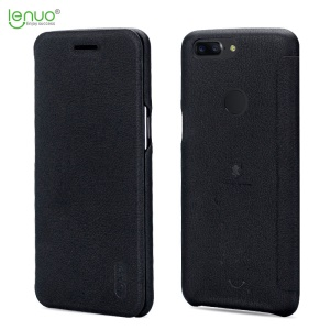 LENUO Ledream Flip Leather Casing with Card Holder for OnePlus 5T - Black