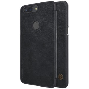 NILLKIN Qin Series for OnePlus 5T Leather Case with Card Slot - Black