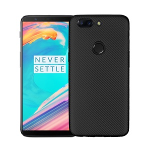 For OnePlus 5T Carbon Fiber Texture TPU Back Case Cover - Black