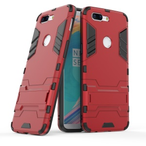 Cool Plastic TPU Hybrid Mobile Casing with Kickstand for OnePlus 5T - Red