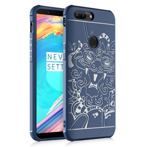 For OnePlus 5T All-wrapped Drop-proof TPU Protective Cover - Auspicious Dragon Pattern / Blue