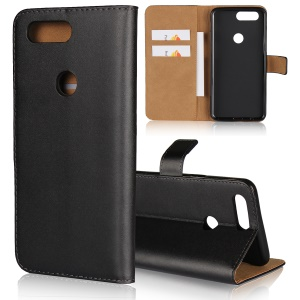 Genuine Split Leather Wallet Stand Phone Case for OnePlus 5T - Black