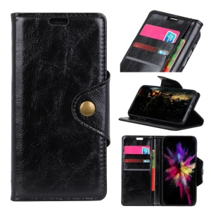 Textured PU Leather Wallet Stand Phone Case for OnePlus 6 - Black