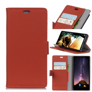 Litchi Skin Wallet Leather Phone Shell Case for OnePlus 6 - Brown