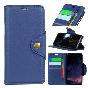 Crazy Horse Stand Wallet Leather Phone Case Accessory for OnePlus 6 - Blue