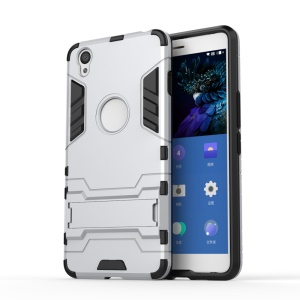 Solid PC + TPU Hybrid Case with Kickstand for OnePlus X - Silver