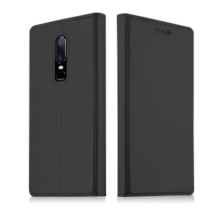 Card Holder Auto-absorbed Leather Cell Phone Case with Stand for OnePlus 6 - Black
