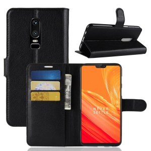 Litchi Skin Wallet Leather Stand Case for OnePlus 6 - Black