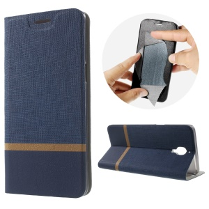 Cross Pattern Two-color Leather Card Holder Case for OnePlus 3 - Dark Blue