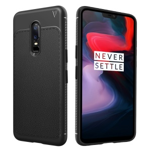 LENUO Gentlemen Series for OnePlus 6 Litchi Texture Soft TPU Case - Black