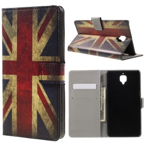 Pattern Printing Wallet Stand Leather Flip Case for OnePlus 3 - Vintage Union Jack Flag