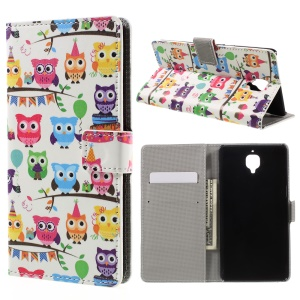 Pattern Printing Wallet Stand Leather Protector Case for OnePlus 3/ 3T  - Adorable Owls