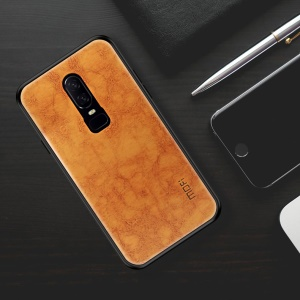 MOFI PU Leather Coated PC + TPU Hybrid Mobile Case for OnePlus 6 - Brown