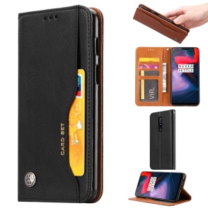 PU Leather Auto-absorbed Stand Wallet Phone Cover for OnePlus 6 - Black