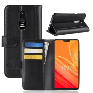 Genuine Leather Wallet Stand Mobile Phone Cover for OnePlus 6 - Black