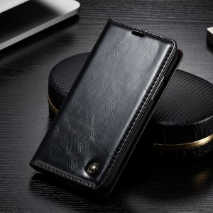CASEME Oil Wax Leather Stand Wallet Phone Case for OnePlus 6 - Black
