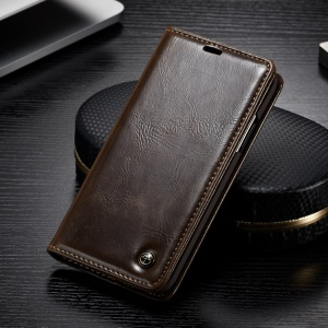 CASEME Oil Wax Leather Stand Wallet Mobile Cover Case for OnePlus 6 - Brown