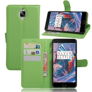 Litchi Skin Magnetic Flip Leather Wallet Case for OnePlus 3 / 3T - Green
