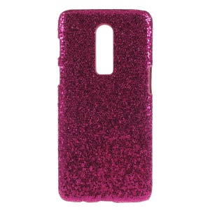 Rose Glitter Sequins Leather Coated Hard Plastic Case for OnePlus 6