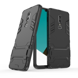 Cool Guard Plastic TPU Hybrid Casing with Kickstand for OnePlus 6 - Black