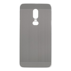 Slide-on Metal Bumper + Brushed PC Back Panel Plated Combo Cover Case for OnePlus 6 - Grey