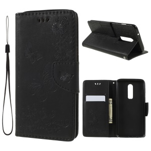 Imprinted Butterfly Flowers PU Leather Wallet Stand Case for OnePlus 6 - Black