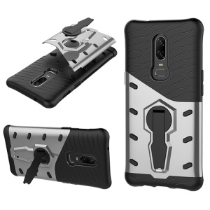 For OnePlus 6 Armor Kickstand PC + TPU Protection Phone Case - Silver