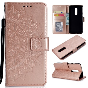 For OnePlus 6 Imprint Mandala Flower Stand Leather Shell - Rose Gold