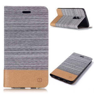 Bi-color Canvas Leather Card Holder Stand Case for OnePlus 6 - Light Grey