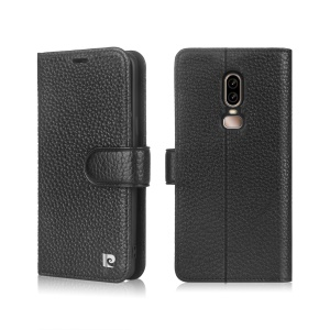 PIERRE CARDIN Litchi Grain Genuine Leather Wallet Card Slot Phone Cover with Stand for OnePlus 6 - Black
