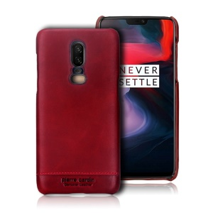 PIERRE CARDIN for OnePlus 6 Horizontal Stitched Genuine Leather Coated PC Phone Cover - Red