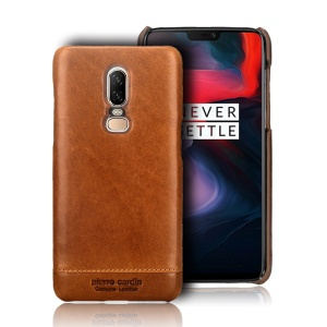 PIERRE CARDIN for OnePlus 6 Horizontal Stitched Genuine Leather Coated PC Back Case - Brown