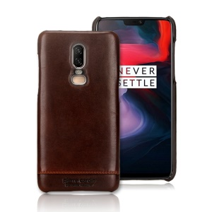 PIERRE CARDIN for OnePlus 6 Horizontal Stitched Genuine Leather Coated Plastic Mobile Casing - Coffee