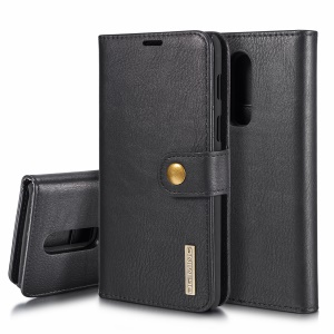 DG.MING for OnePlus 6 Detachable 2-in-1 Split Leather Wallet + PC Back Case - Black