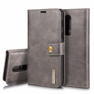 DG.MING for OnePlus 6 Detachable 2-in-1 Split Leather Wallet + PC Back Cover - Grey