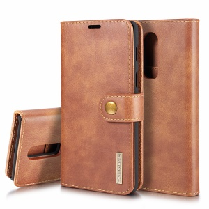 DG.MING for OnePlus 6 Detachable 2-in-1 Split Leather Wallet + PC Back Mobile Phone Case - Brown