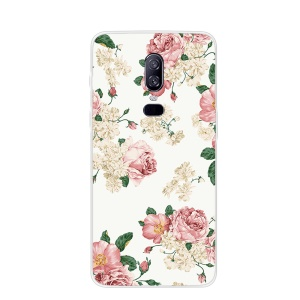 Pattern Printing TPU Phone Shell for OnePlus 6 - Flowers Pattern