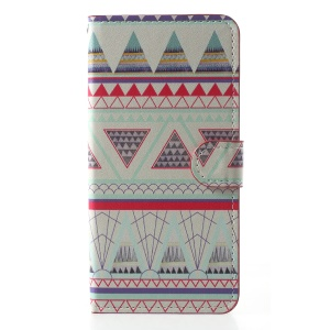 Pattern Printing PU Leather Magnetic Wallet Stand Mobile Phone Cover for OnePlus 6 - Triangle Pattern