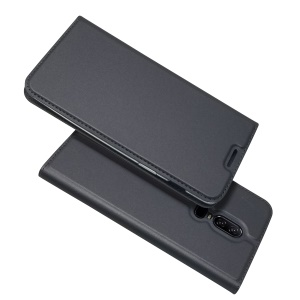 Auto-absorbed Stand Leather Card Holder Phone Case for OnePlus 6 - Black