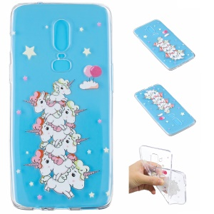 Embossment Patterned Soft TPU Protective Phone Shell for OnePlus 6 - Star and Unicorn