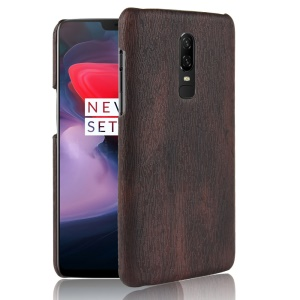 Wooden Grain Leather Coated Plastic Matte Cover for OnePlus 6 - Black